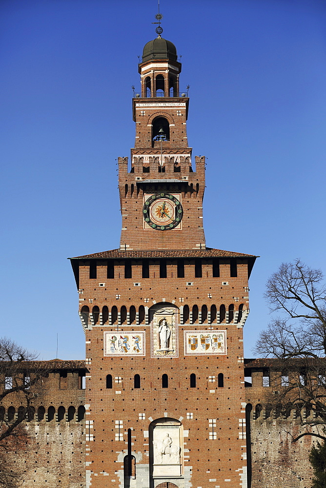 The Torre del Filarete clock tower at the 15th century Sforza Castle (Castello Sforzesco), Milan, Lombardy, Italy, Europe - 826-617
