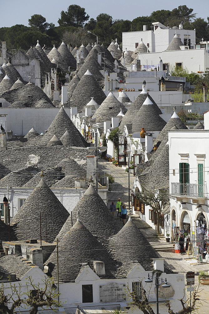 The cone-shaped roofs of trulli houses in the Rione Monte district, UNESCO World Heritage Site, Alberobello, Apulia, Italy, Europe - 826-626