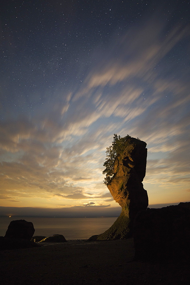 Hopewell Rocks, the flowerpot rocks, on the Bay of Fundy, scene of the world's highest tides, at night in New Brunswick, Canada, North America - 826-680