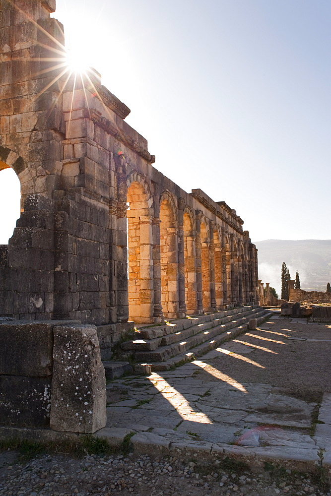 The ruins of the Roman city of Volubilis, Morocco, North Africa, Africa