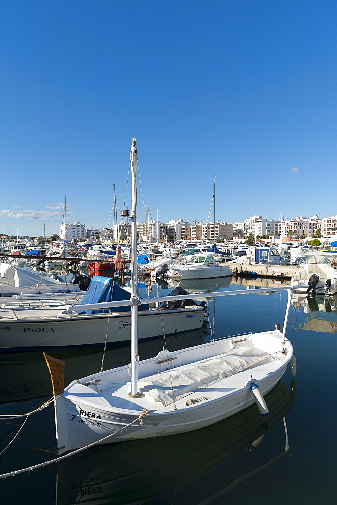 View of the boats, Marina, Santa Eulalia port, Ibiza, Balearic Islands, Spain, Mediterranean, Europe - 827-493