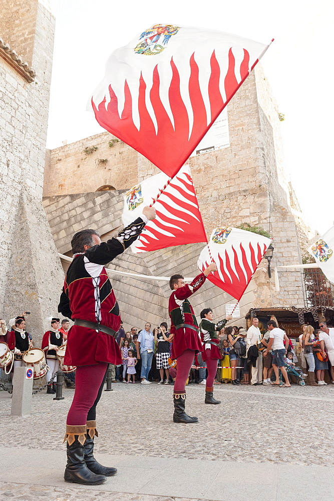 Flag bearers show, Ibiza cathedral, Medieval Party, Dalt Vila, Old Town, Ibiza, Balearic Islands, Spain, Mediterranean, Europe - 827-504