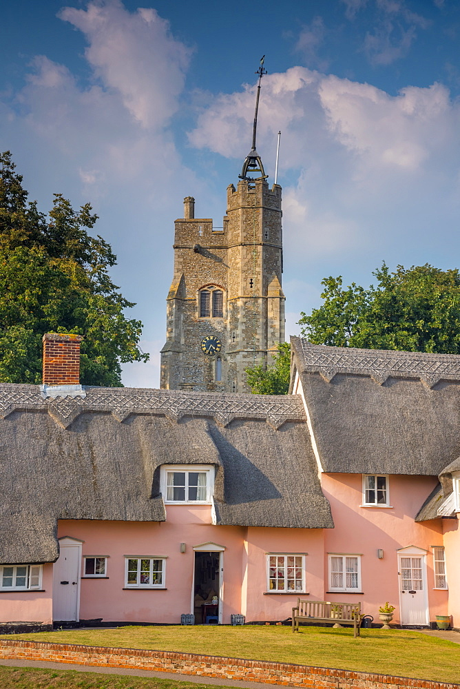 St. Mary the Virgin's Church and the Pink Cottages, Cavendish, Suffolk, England, United Kingdom, Europe - 828-1036
