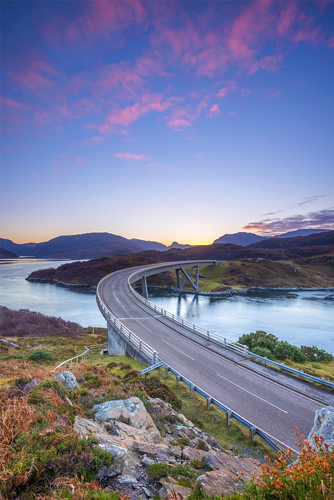 Loch a' Chairn Bhain, Kylesku, Kylesku Bridge, landmark on the North Coast 500 Tourist Route, Sutherland, Highlands, Scotland, United Kingdom, Europe - 828-1076