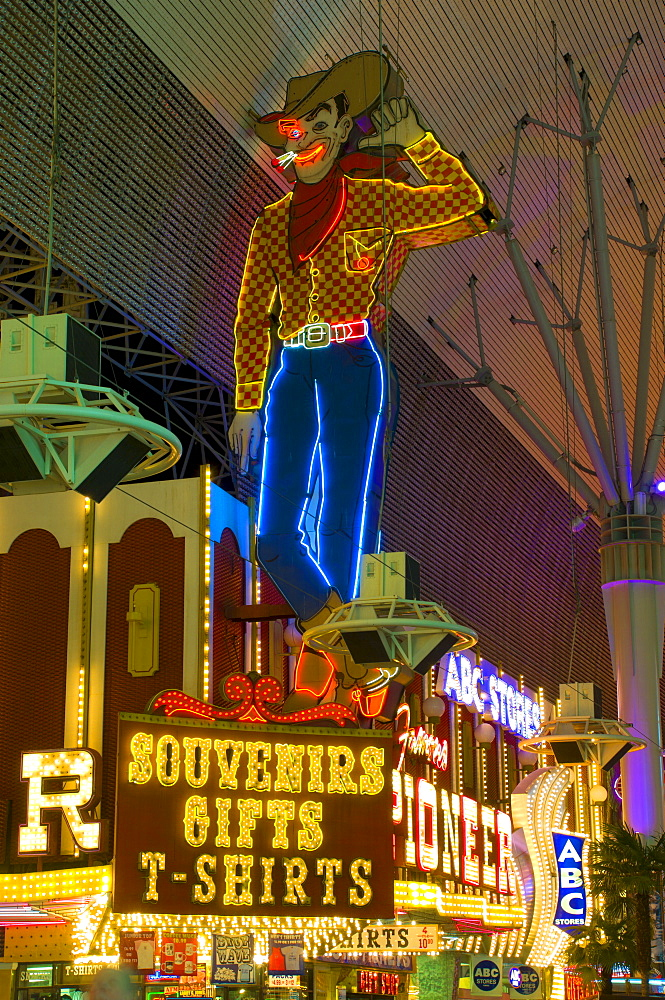 Fremont Street, Downtown Old Las Vegas, Las Vegas, Nevada, United States of America, North America
