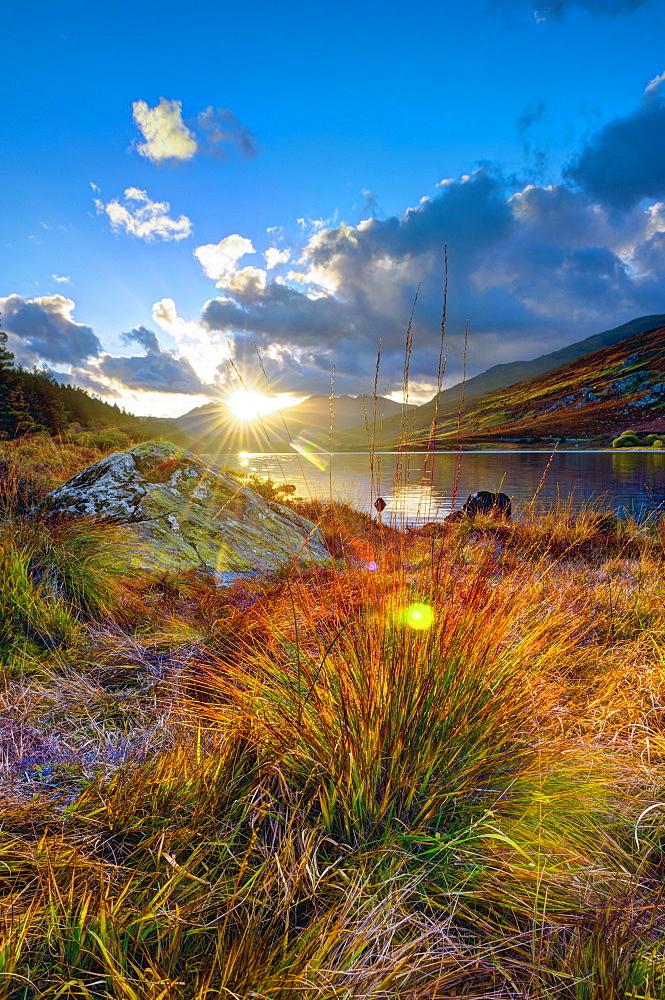 Dyffryn Mymbyr (Vale of Mymbyr), Llynnau Mymbyr (Mymbyr Lakes), Mount Snowdon beyond, Snowdonia National Park, Conwy-Gwynedd, Wales, United Kingdom, Europe