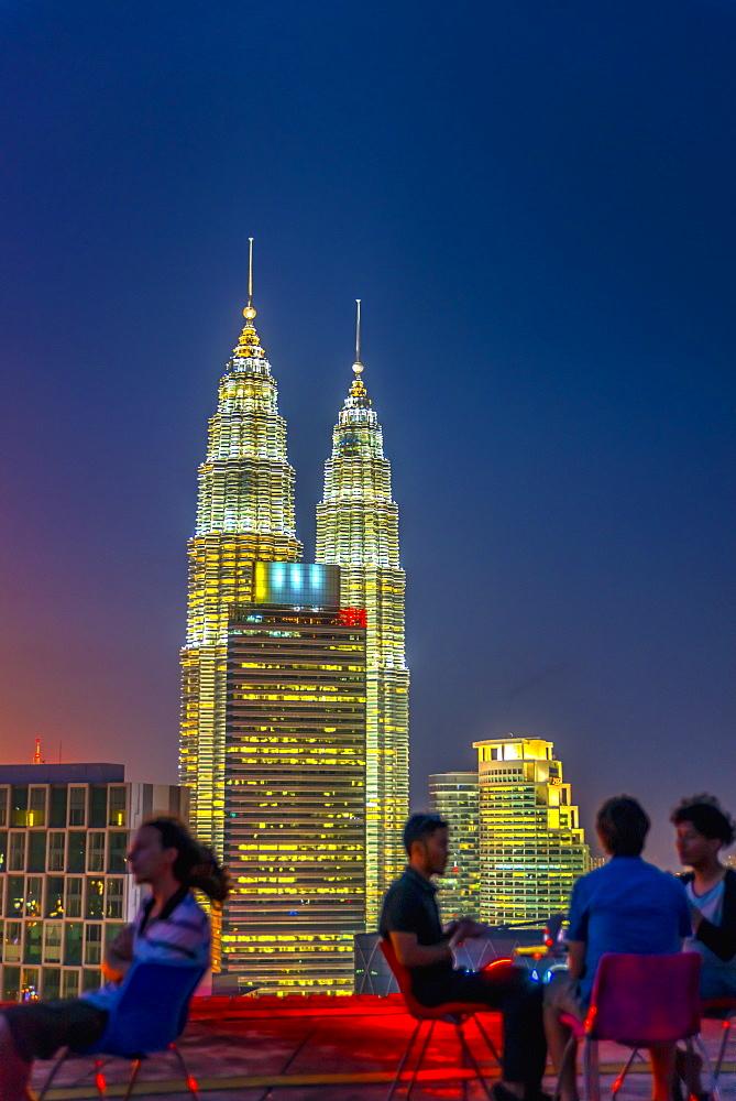 Helipad Bar and Petronas Towers, Kuala Lumpur, Malaysia, Southeast Asia, Asia