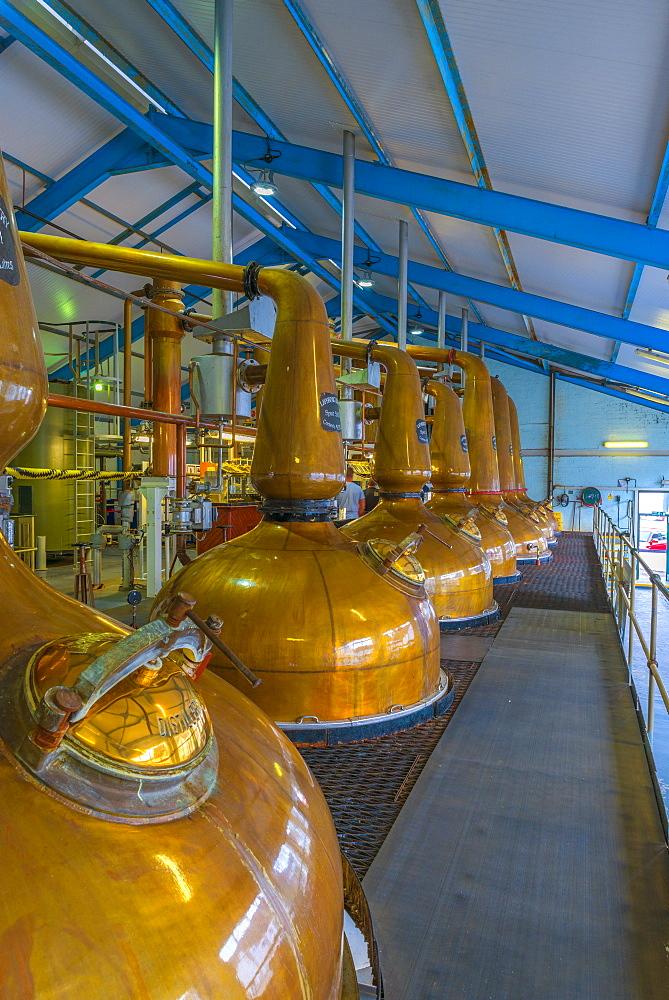 Copper pot stills, Laphroaig Whisky Distillery, Islay, Argyll and Bute, Scotland, United Kingdom, Europe