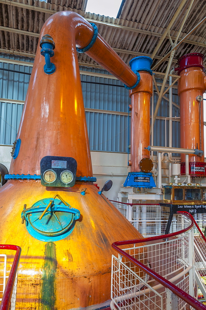 Copper stills, Ben Nevis Whisky Distillery, Fort William, Scotland, United Kingdom, Europe