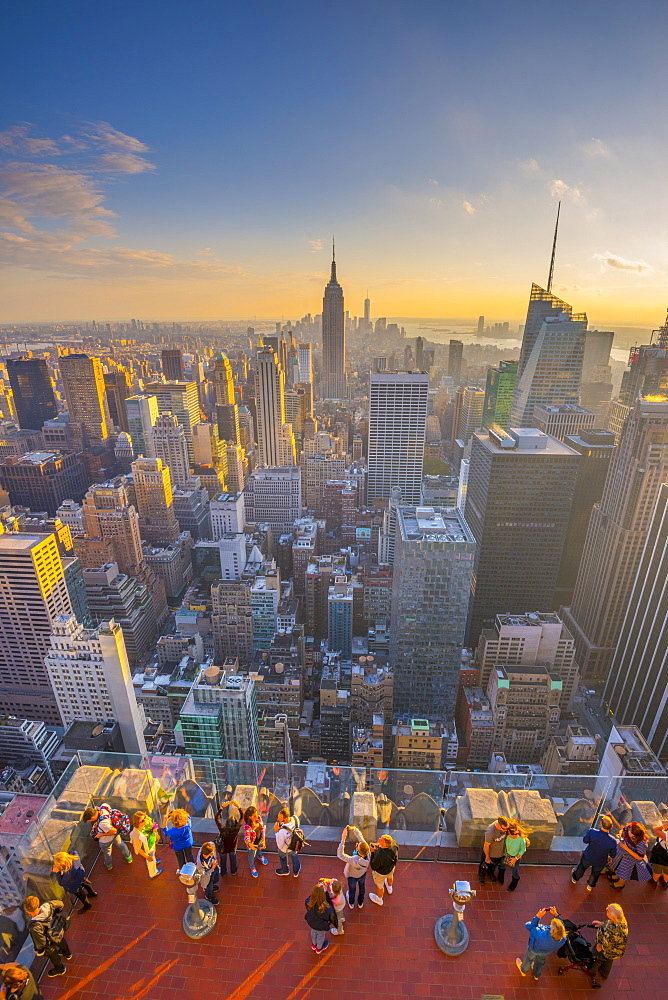 Empire State Building viewed from Rockefeller Building, Top of the Rock, Midtown, Manhatttan, New York, United States of America, North America
