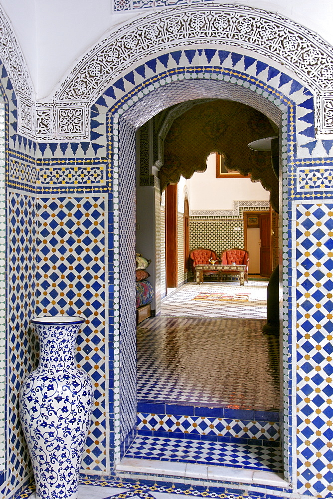 Interior of the Riad El Yacout in Fez, Morocco