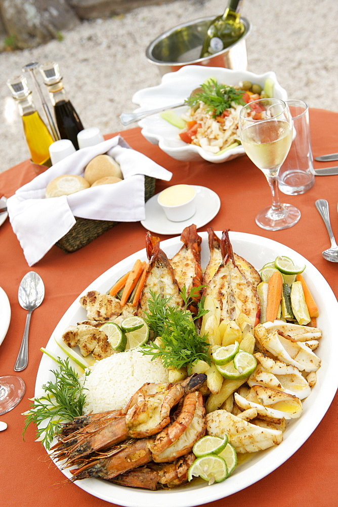 Seafood platter at Matemo lodge in the Quirimbas archipelago in Mozambique, Africa