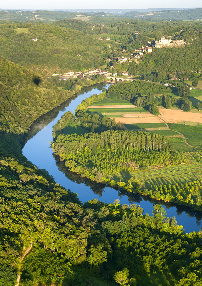 Aerial view over the Dordogne river and surrounding countryside near Sarlat in the Dordogne-Perigord region, France, Europe