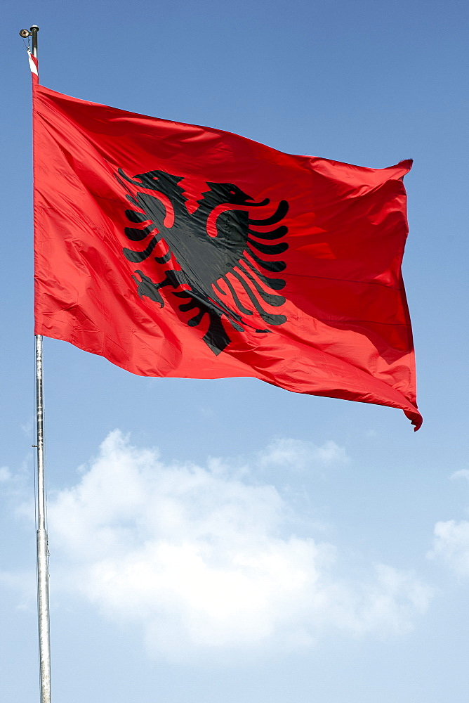 The flag of Albania, Europe