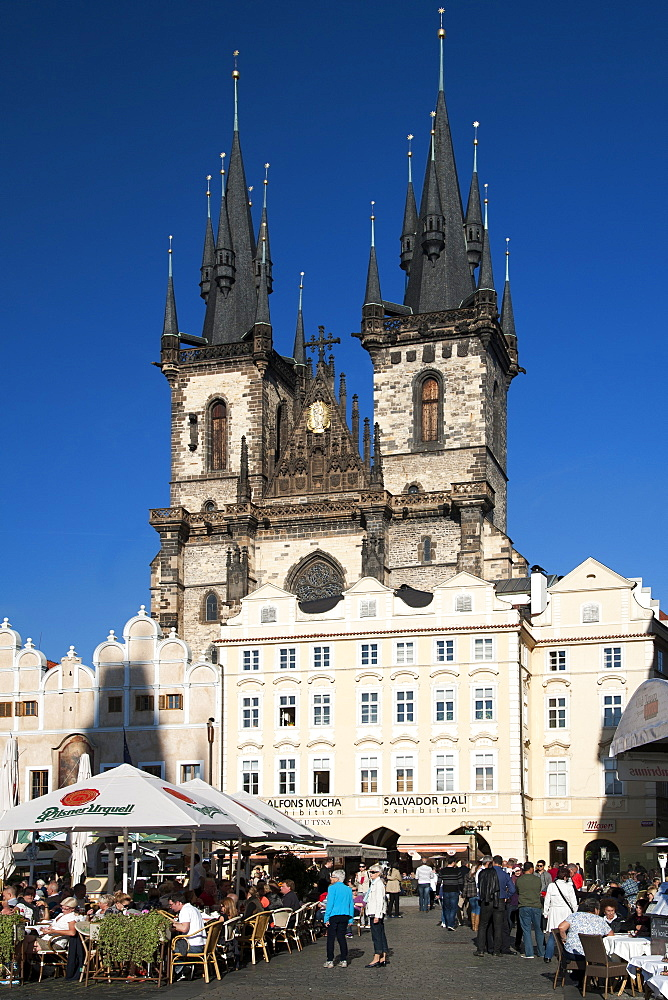 Church of Our Lady Before Tyn in Staromestske namesti (Old Town Square), Prague, Czech Republic, Europe