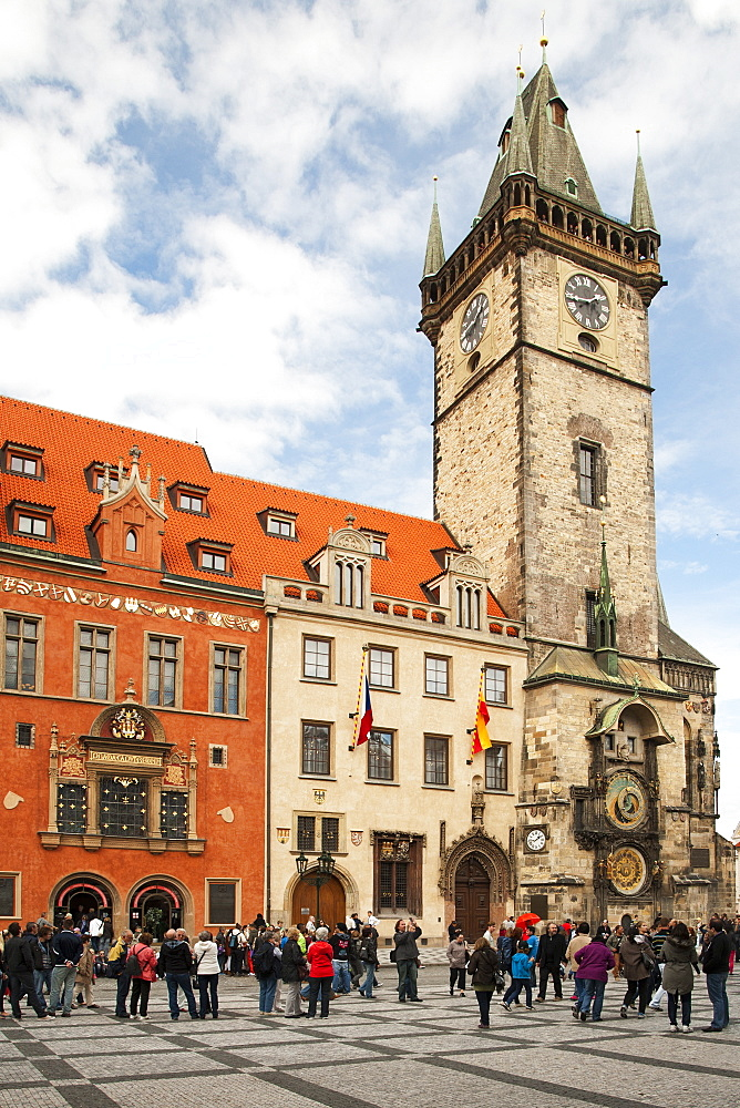 The Old Town Hall Tower and buildings in Staromestske namesti (Old Town Square), Prague, Czech Republic, Europe