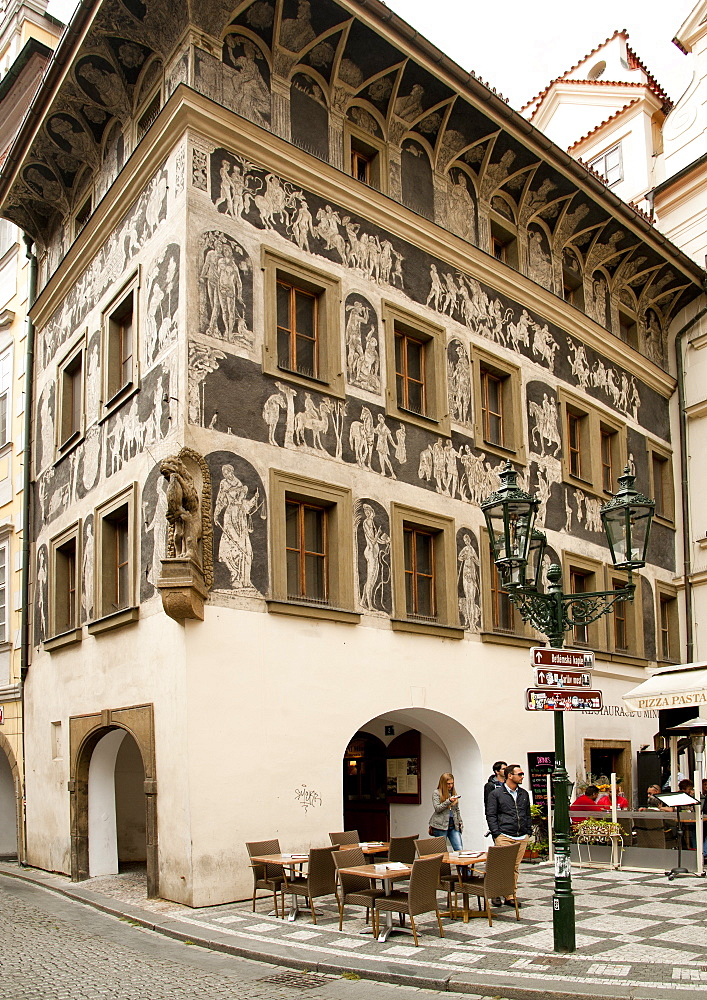 House at the Minute, a renaissance building featuring architectural sgraffito on the Old Town Square, Prague, Czech Republic, Europe