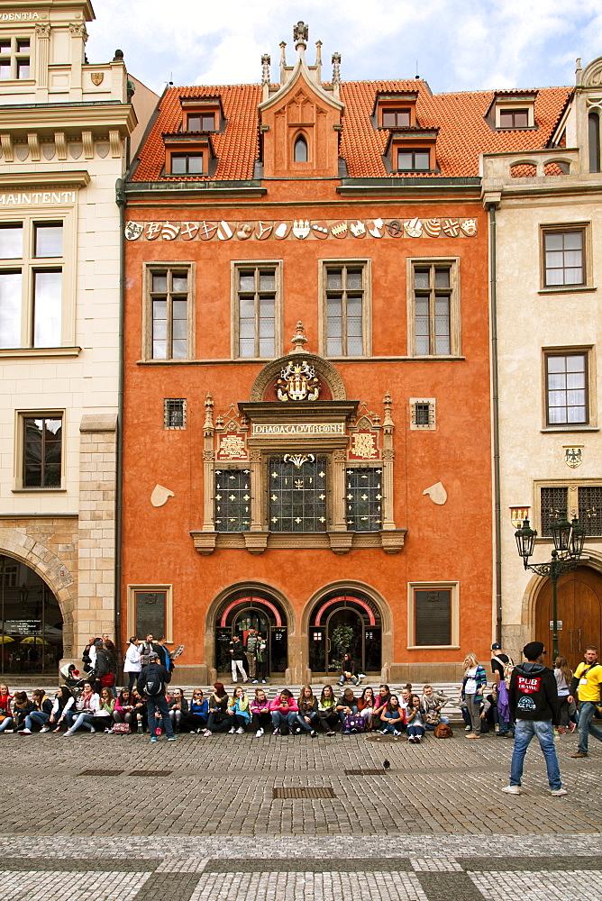 Buildings on Staromestske namesti (Old Town Square), Prague, Czech Republic, Europe