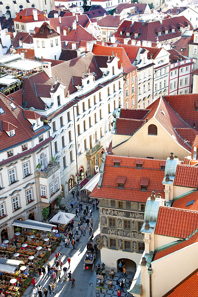 View over Old Town rooftops and parts of Staromestske namesi (Old Town Square), Prague, Czech Republic, Europe