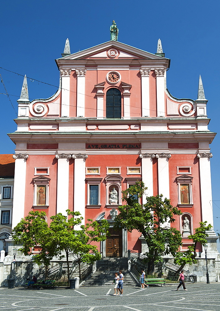 The Franciscan Church of the Annunciation in Preseren Square, Ljubljana, Slovenia, Europe