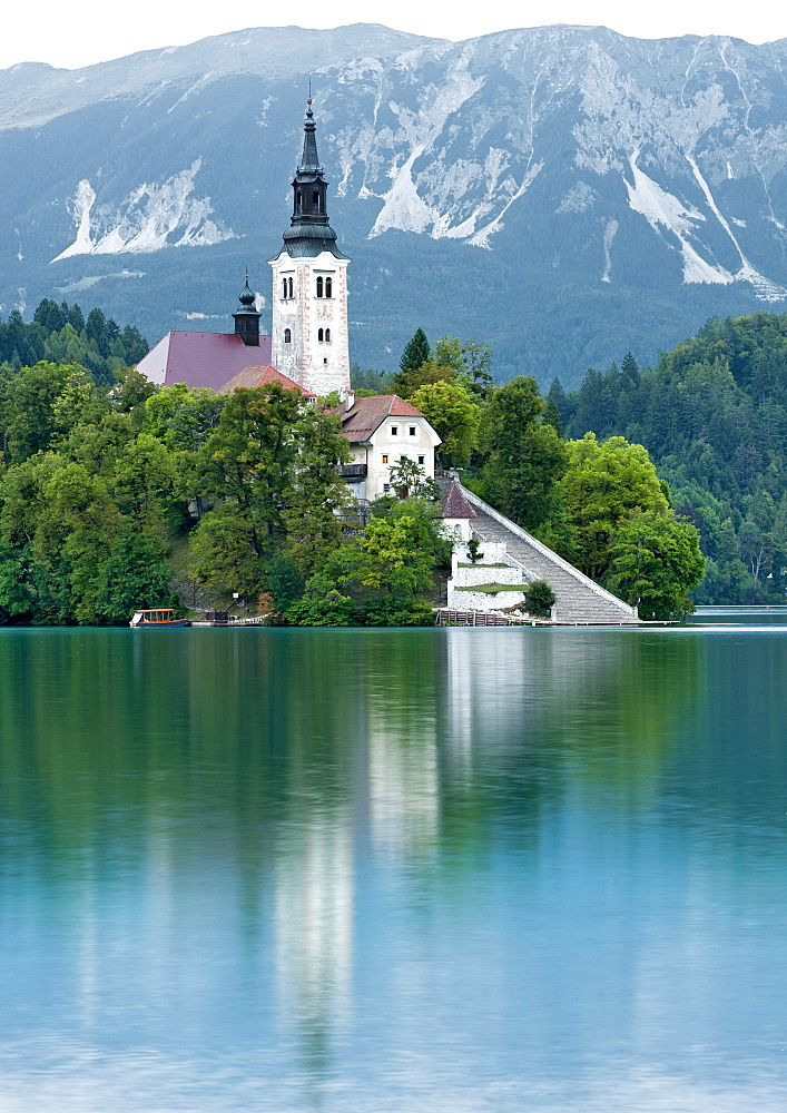The Pilgrimage Church of the Assumption of Mary on Bled Island in the centre of Lake Bled in northwest Slovenia, Europe