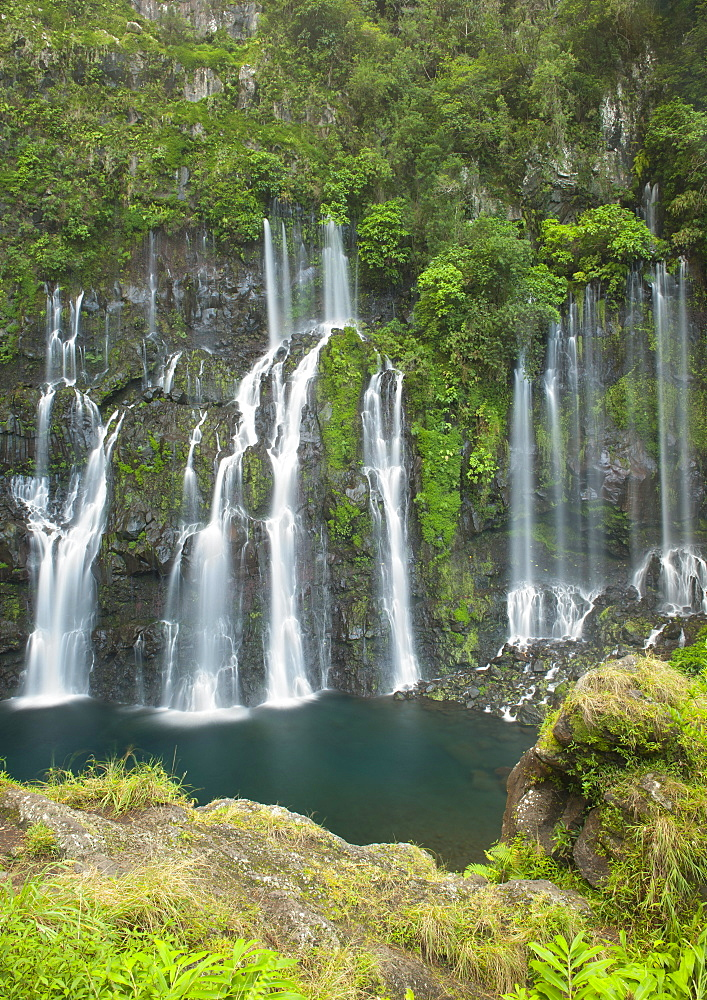 Cascades (waterfall) de Grande Coude on the French island of Reunion in the Indian Ocean, Africa
