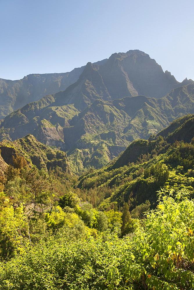 The Cirque de Cilaos caldera on the French island of Reunion in the Indian Ocean, Africa