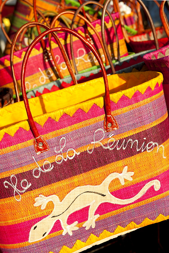Bags for sale at the market in the village of St. Paul on the French island of Reunion in the Indian Ocean, Africa
