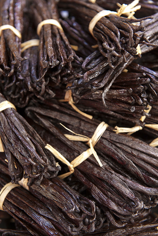 Vanilla sticks for sale at the market in the village of St. Paul on the French island of Reunion in the Indian Ocean, Africa