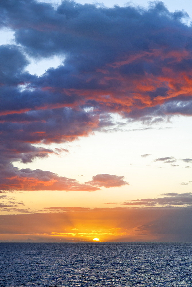 Sunset seen from the French island of Reunion in the Indian Ocean, Africa
