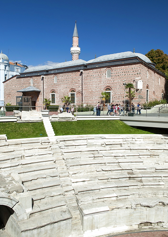 The Dzhumaya Mosque and part of the Roman stadium in Plovdiv, the second largest city in Bulgaria, Europe