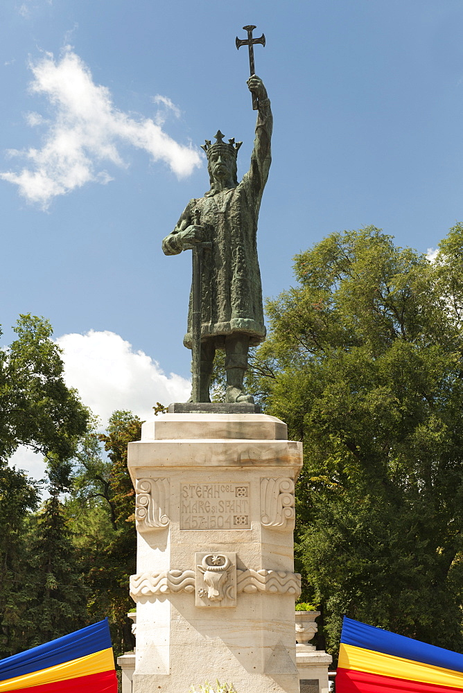 Statue of St. Stephen III of Moldavia (Stefan the Great) in Chisinau, the capital of Moldova, Europe