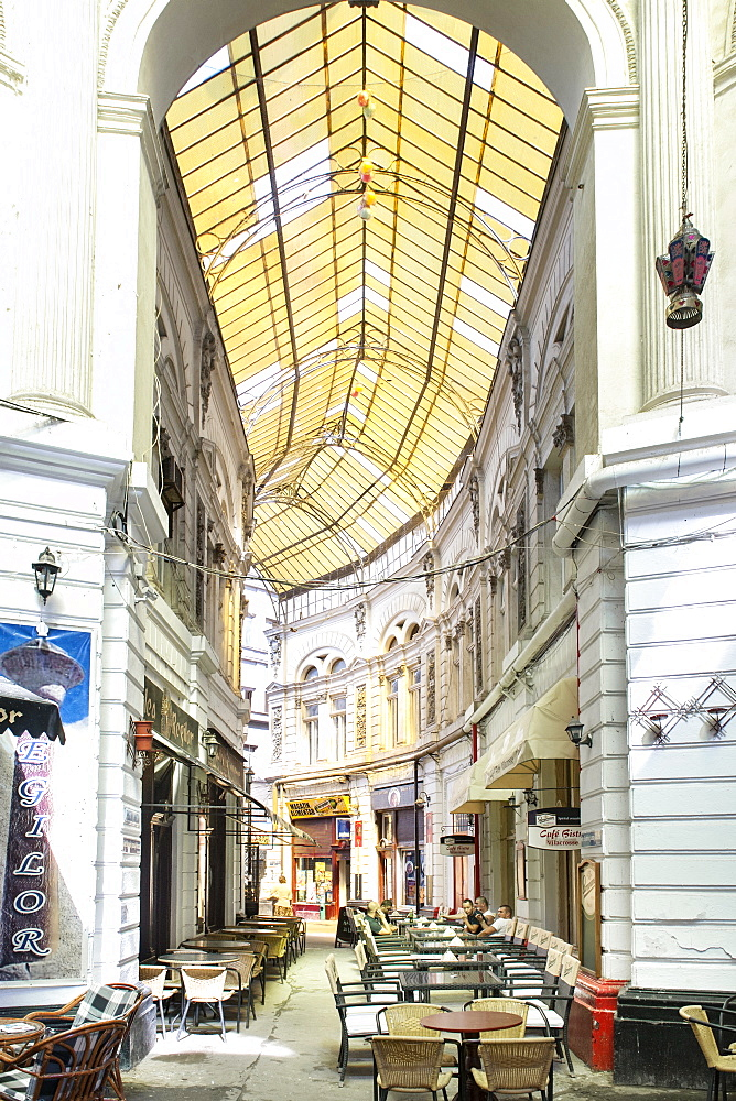 Macca-Vilacrosse passage, a fork-shaped, covered pedestrian arcade street in Bucharest, Romania, Europe