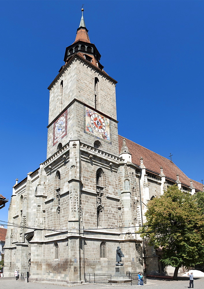 The Black Church in the old town of Brasov, a city in the central Transylvania region of Romania, Europe
