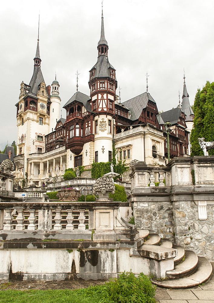 Peles Castle near Sinaia in the Carpathian mountains in the Transylvania region of central Romania, Europe
