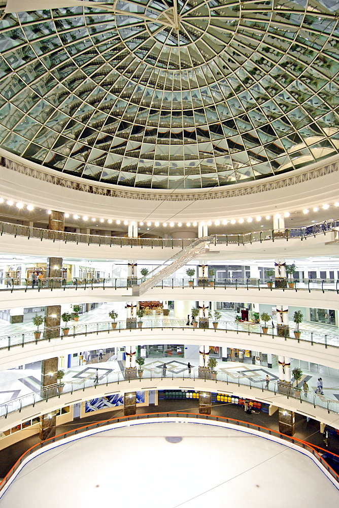 Interior view of the City Hall shopping centre and its ice rink in Doha, Qatar.