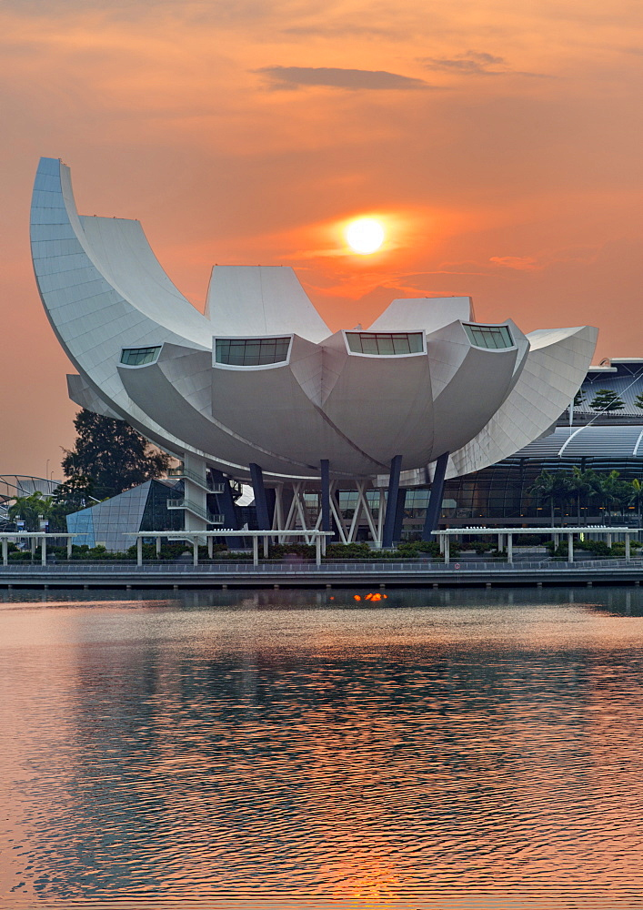 The Art Science Museum in Singapore at dawn.