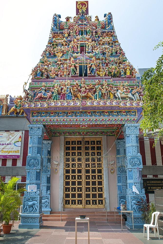 Sri Veeramakaliamman Temple on Serangoon Road in the Little India district of Singapore.