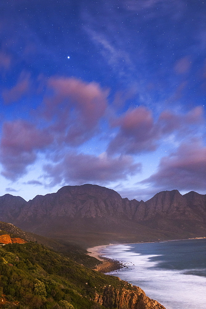 Moonlit view of Kogel Bay near Cape Town in South Africa.