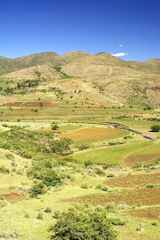 Scenery along the road to Semonkong in the mountain kingdom of Lesotho, Africa