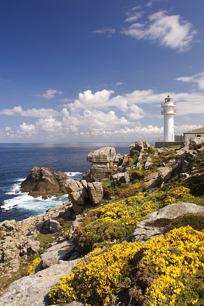 The lighthouse at Cape Tourin~a´n on the Atlantic coast of the A Corun~a province of Spain's Galicia region.