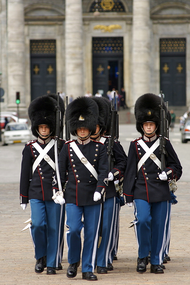 Changing of the Guard at Amalienborg with Frederik's Kirken church in the background, Copenhagen, Denmark, Scandinavia, Europe
