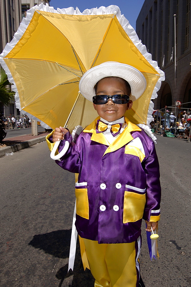 A young participant in the annual Minstrels procession (also referred to as the Coon Carnival) in Cape Town.