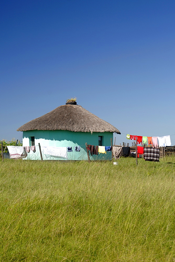 Washing hanging out to dry in the Eastern Cape Province of South Africa. This is an area along the Coffee Bay road in a region formerly known as the Transkei,