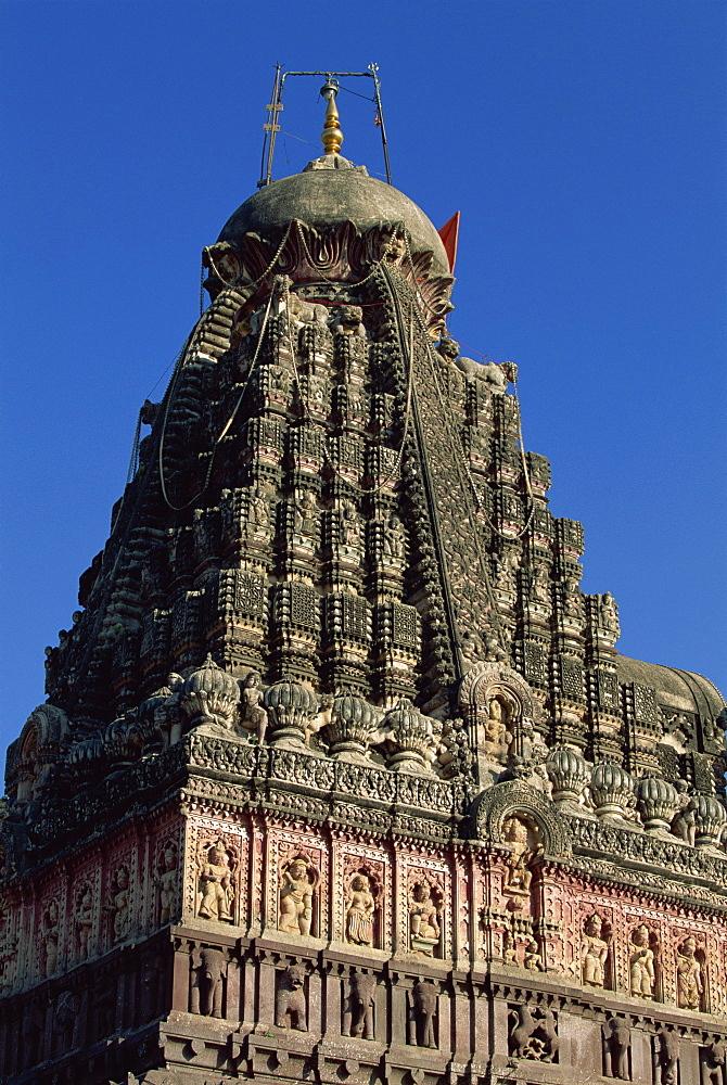 The Grishneshwar Temple at Verul village near Ellora, Maharashtra state, India, Asia
