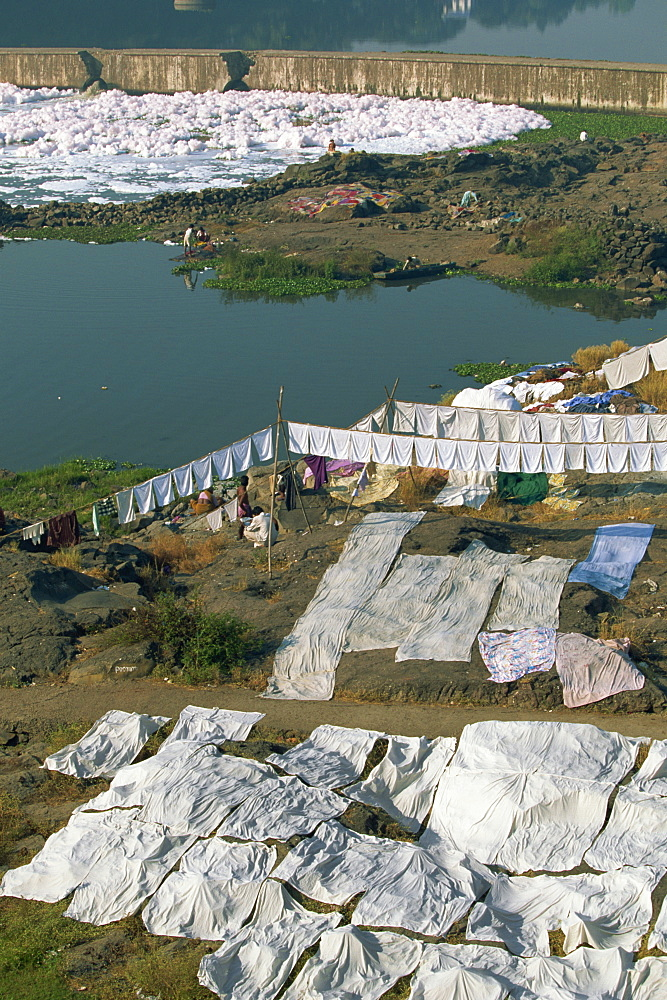 Laundry drying by the Mula River, with foam from detergent pollution beyond, Pune, Maharashtra state, India, Asia - 83-10804