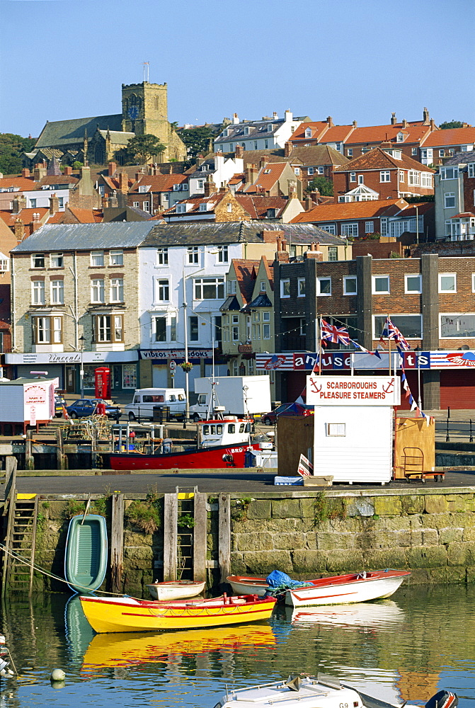 The seafront of Scarborough, the popular seaside resort on the coast of North Yorkshire, England, United Kingdom, Europe