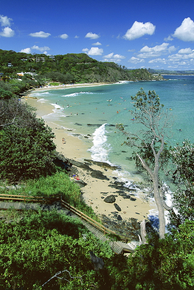 Wategos beach, a popular surf break on the northern flank of Cape Byron near Byron Bay, New South Wales (NSW), Australia, Pacific