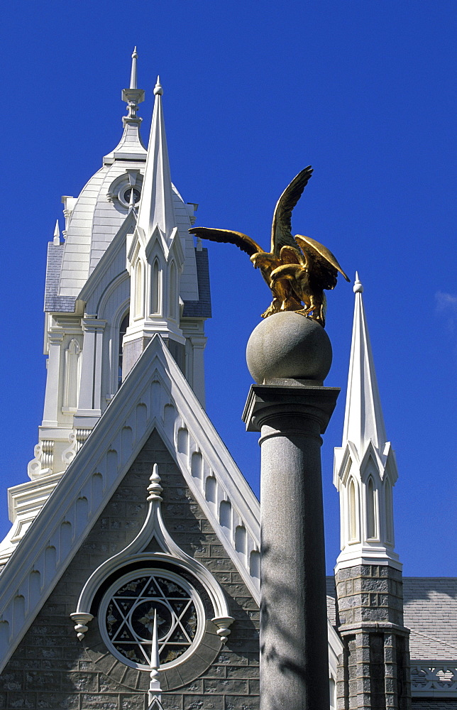 Column and ornate roof of the Assembly Hall on Temple Square, world centre of the Church of Jesus Christ of Latter Day Saints (the Mormons), Salt Lake City, Utah, United States of America (USA), North America