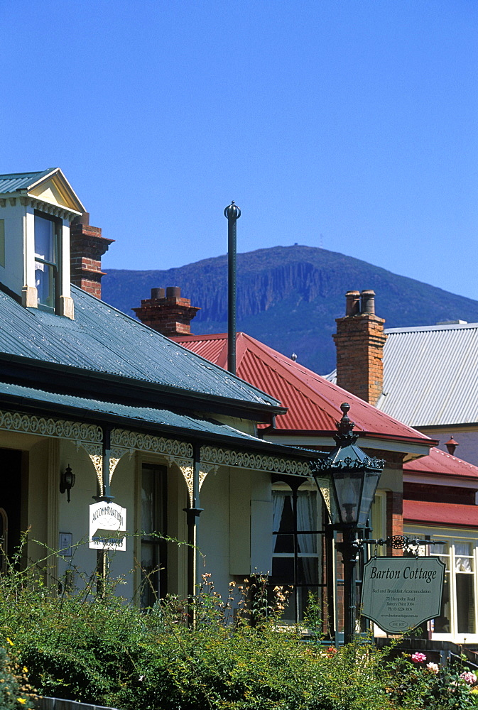 Older properties on Hampden Road, with 1270m Mount Wellington beyond, in the historic district of Battery Point, Hobart, Tasmania, Australia, Pacific